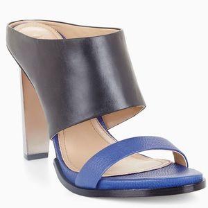 NIB! BCBGMaxAzria Blue/Black Leather Sandals